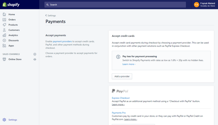 Shopify.com page for payment options