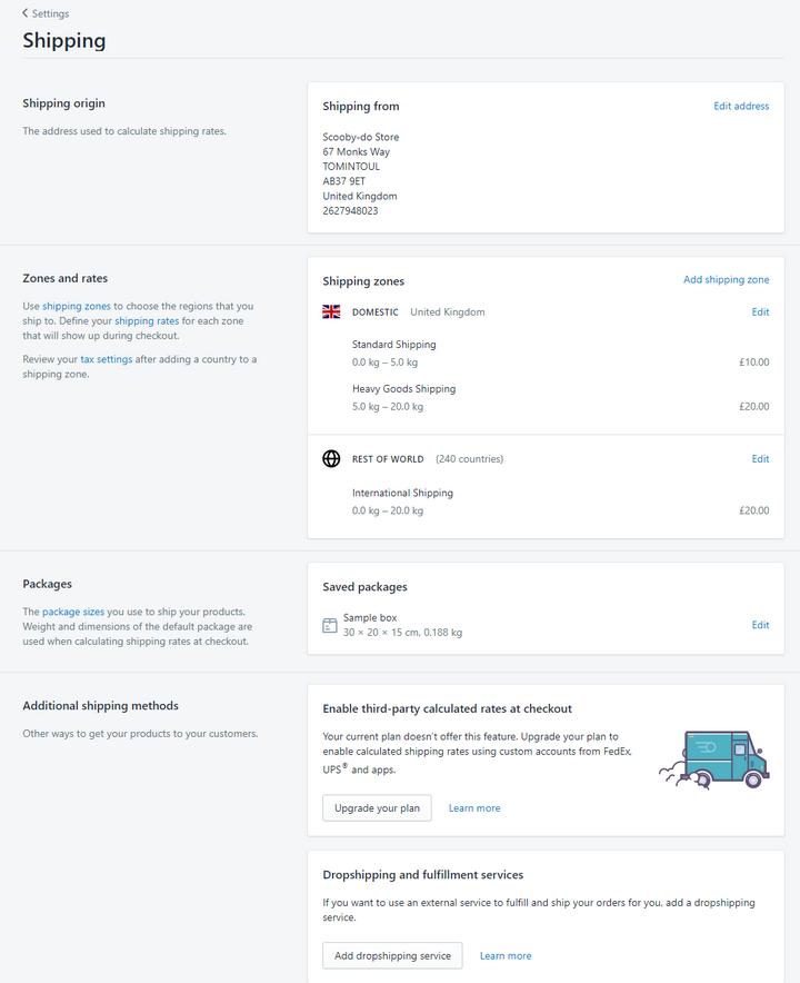 shopify.com shipping options for online boutique shop