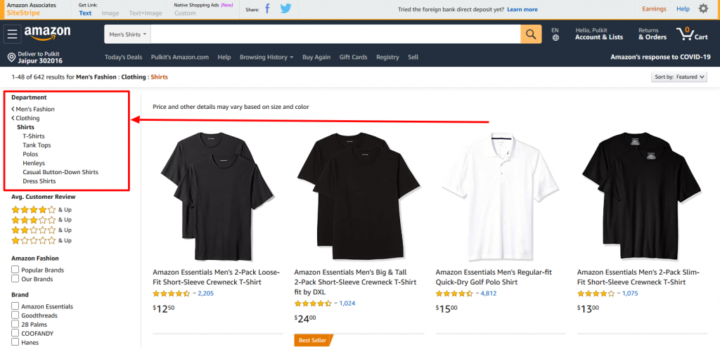 Amazon shirts categorization