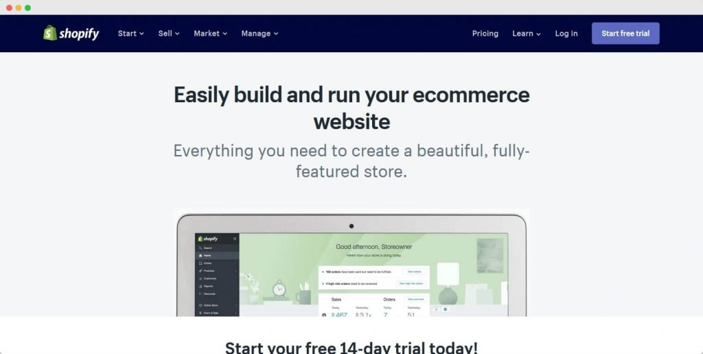 Shopify best ecommerce website builder