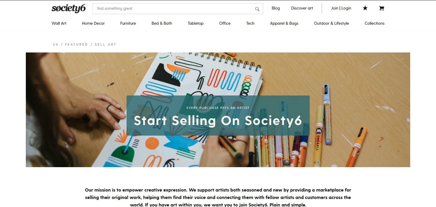 Society6 best print on demand sites