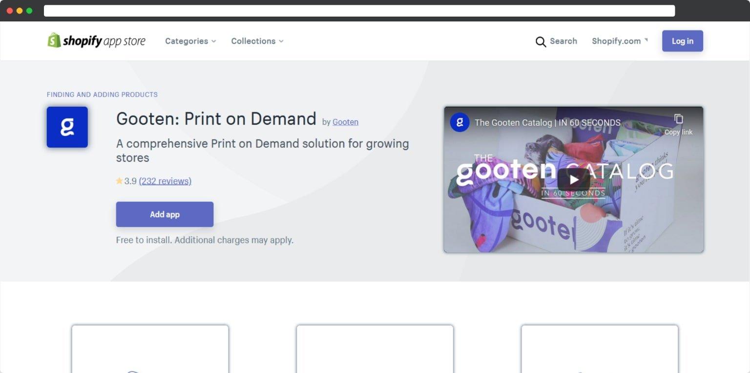 Shopify POD Gooten app