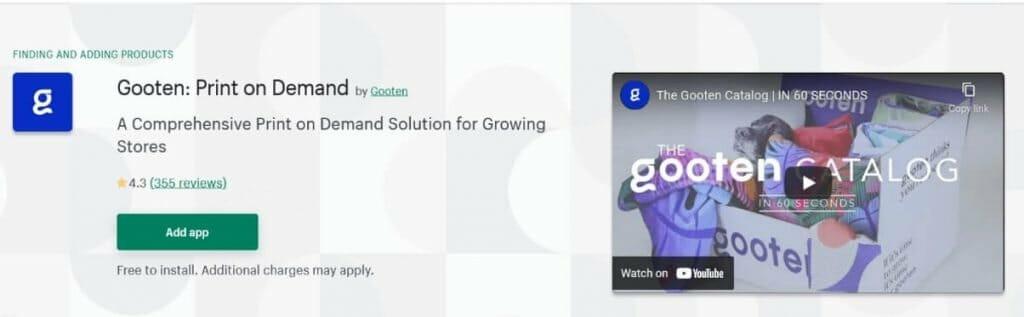gooten shopify print on demand apps