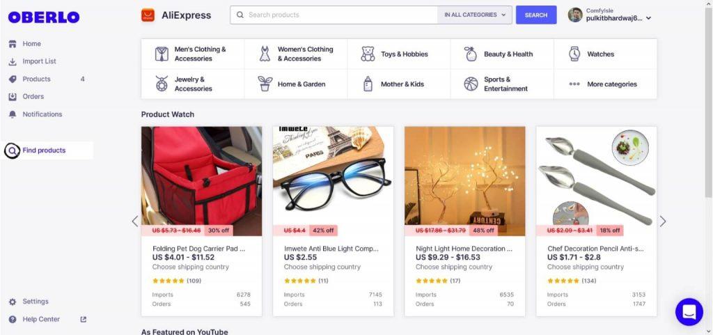 Oberlo Shopify app product catalog
