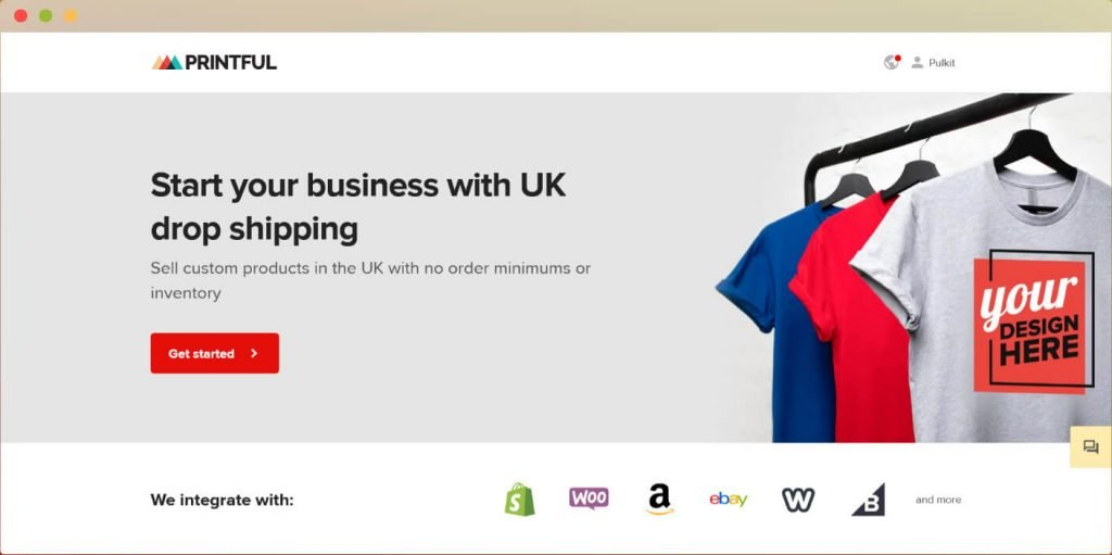 Printful dropshipping supplier uk